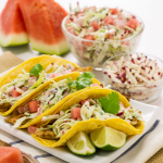 RECIPE: SKINNY FISH TACOS WITH WATERMELON AND RADISH SLAW