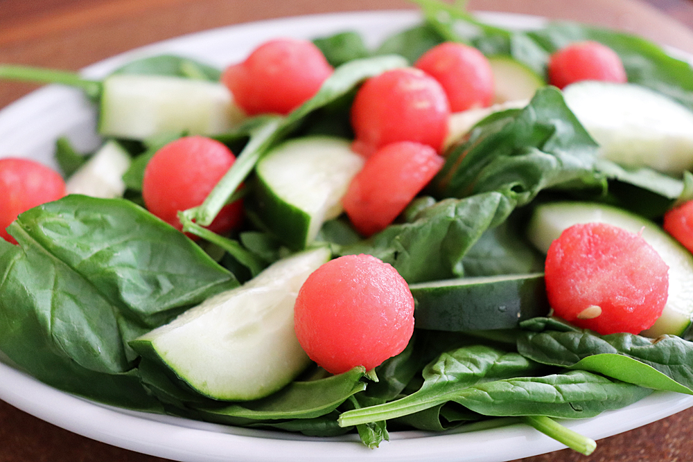 Spinach watermelon and cucumber